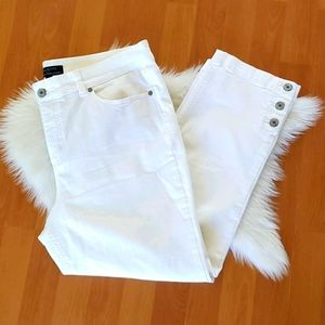 Talbots simply flattering 5 pocket white jeans 14